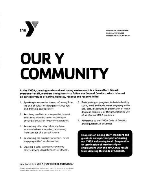 Flushing YMCA Code of Conduct, July 2012